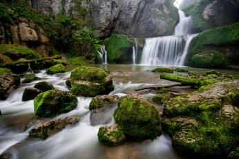 обоя природа, водопады, поток, камни
