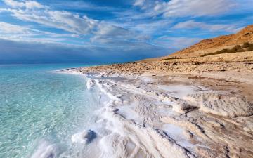 обоя природа, побережье, море, пена, соль, небо, облака