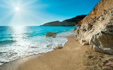 обоя природа, побережье, песок, скалы, греция, море, солнце