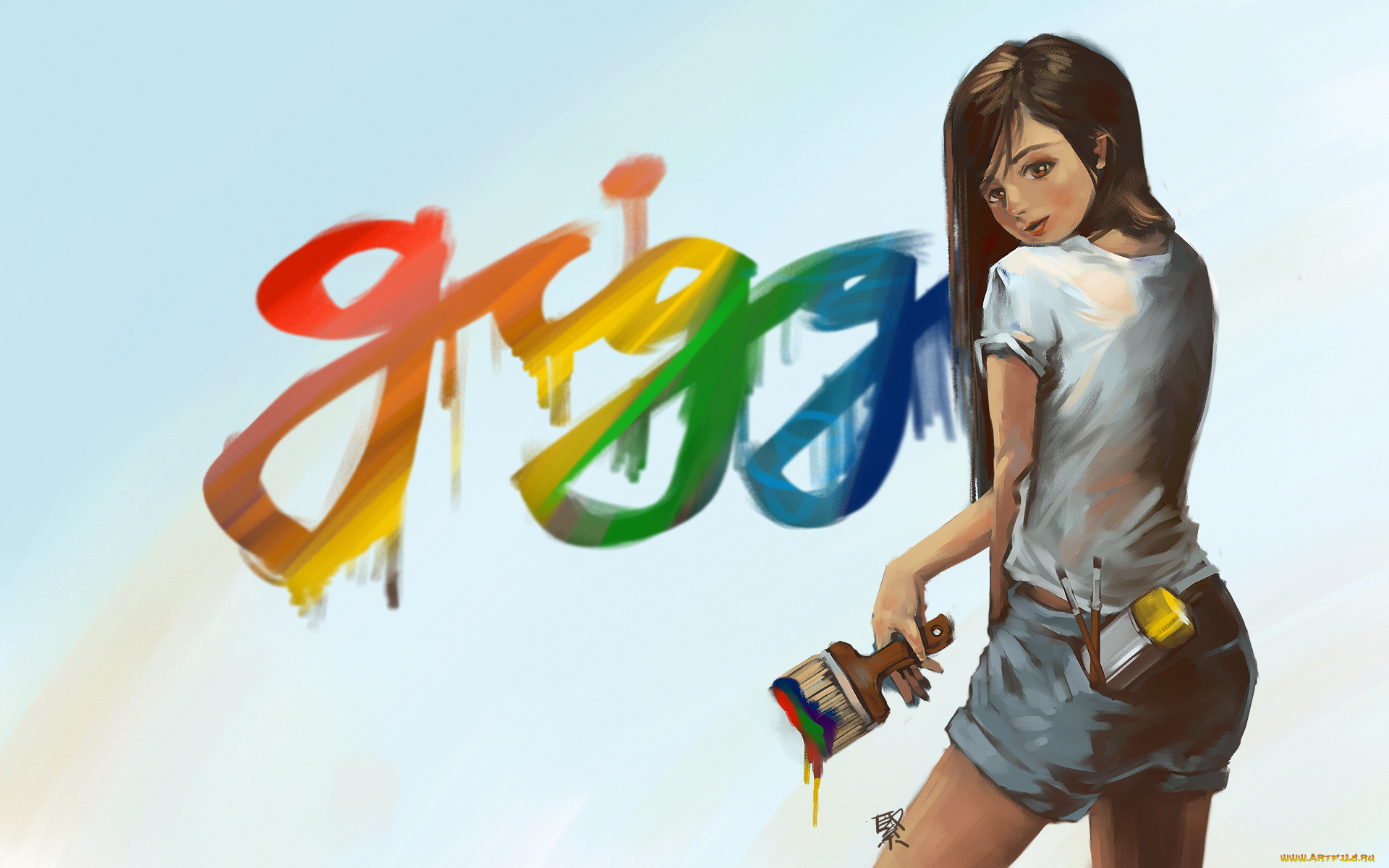 Девушка рисует графити бесплатно