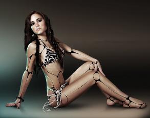 обоя фэнтези, роботы,  киборги,  механизмы, купальник, девушка, взгляд, фон
