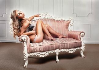 обоя девушки, -unsort , блондинки, диван, белье, блондинка