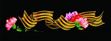 обоя праздничные, день победы, цветы, лента
