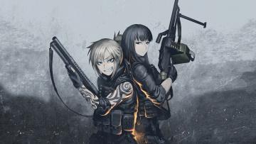 обоя аниме, оружие,  техника,  технологии, взгляд, фон, девушки