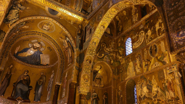 обоя интерьер, убранство,  роспись храма, палермо, италия, часовня, сицилия, норманнский, дворец, палатинская, капелла, палатина