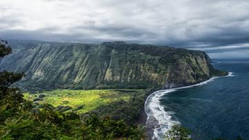 обоя природа, побережье, океан, скала, гавайи, утес, сша, waipio, valley