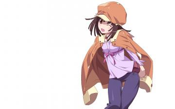 обоя аниме, bakemonogatari, взгляд, девушка, фон