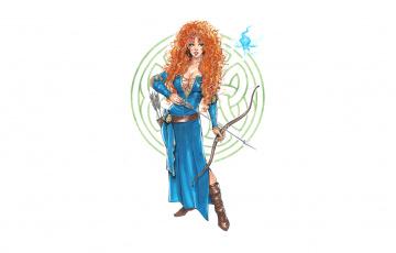 Картинка рисованное люди прическа стрела колчан лук фон девушка
