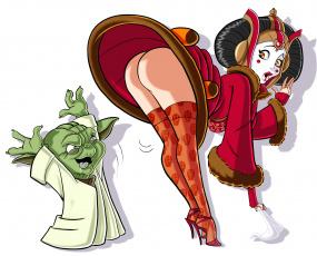 обоя рисованное, комиксы, фон, девушка, существо, платье
