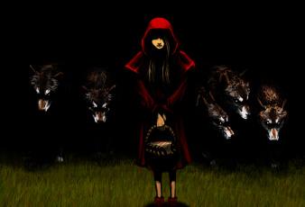 обоя рисованное, комиксы, волк, корзина, девочка