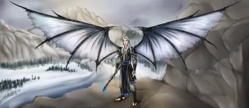 обоя рисованное, комиксы, крылья, эльф, взгляд, фон, мужчина