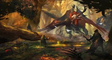 Картинка фэнтези существа лес люди чудовище монстр