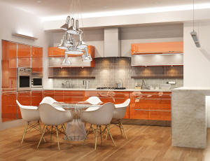 обоя интерьер, кухня, плита, стулья, стол
