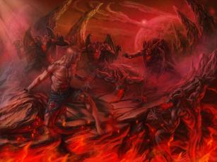 обоя фэнтези, демоны, иной, мир, атака, мужчина