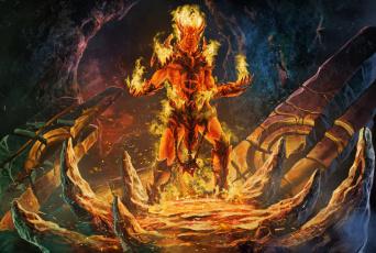 обоя фэнтези, демоны, огонь, магия, пещера, демон