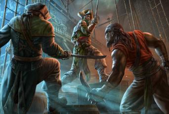 обоя фэнтези, люди, оружие, схватка, пираты, корабль