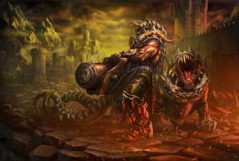 обоя фэнтези, существа, монстр, пушка, edikt, art, чудовище, крепость, pushkar, and, his, dog, пушкарь, и, его, пес