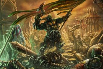 обоя фэнтези, существа, орки, сражение, поле, воины