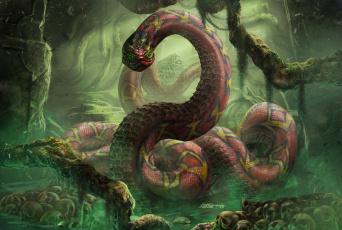 обоя фэнтези, существа, змей, монстр, черепа, анаконда