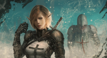 обоя фэнтези, эльфы, девушка, рыцари, эльф, фантастика, крестоносцы