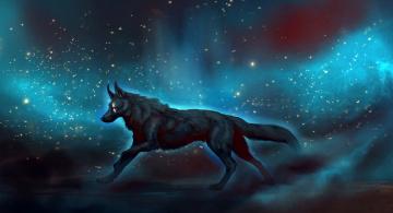 обоя рисованное, животные,  волки, широкоформатные, фантастика, рисунки, космос, волки
