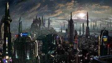 обоя фэнтези, иные миры,  иные времена, небо, облака, город, дом, рассвет, небоскребы, реклама, мегаполис