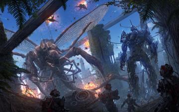 обоя фэнтези, роботы,  киборги,  механизмы, фантастика, робот, крылья, монстр, чудовище, киборг, схватка, щупальце