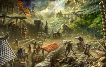 обоя фэнтези, иные миры,  иные времена, люди, edikt, art, knight, weekdays, крепость, поселение