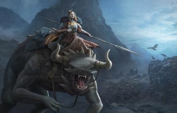 обоя фэнтези, красавицы и чудовища, всадник, девушка, монстр, мир, иной