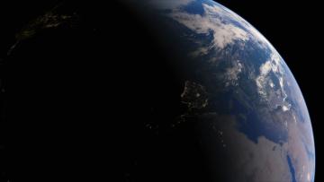 обоя космос, земля, огни, испания, средиземное, море, планета