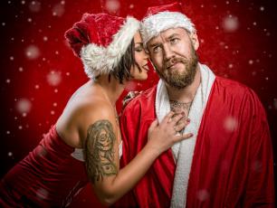 обоя праздничные, дед мороз,  санта клаус, снегурочка, девушка, тату, красный, фон