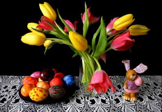 обоя праздничные, пасха, кролик, тарелка, кружево, тюльпаны, черный, фон