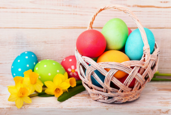 обоя праздничные, пасха, яйцо, нарциссы, корзинка