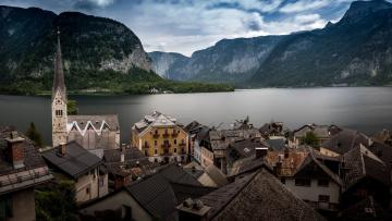 обоя города, - панорамы, халльштатт, памятник, всемирного, наследия, юнеско, австрия, hallstatt