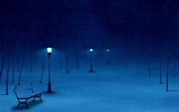 Картинка векторная графика снег фонари скамейка