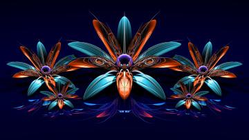 Картинка 3д+графика цветы+ flowers лепестки фон
