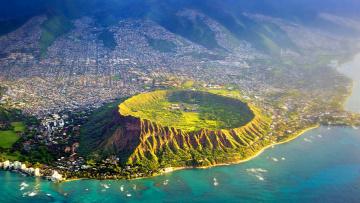 Картинка города -+панорамы море кратер сша гавайи остров оаху