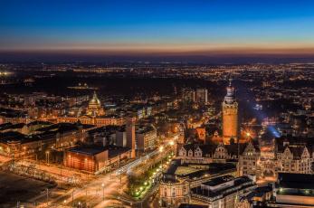 обоя leipzig, города, - огни ночного города, простор