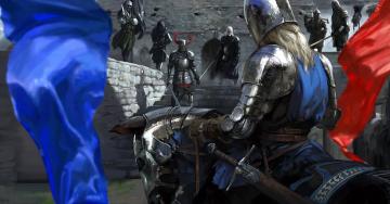 обоя фэнтези, люди, флаг, оружие, лошадь