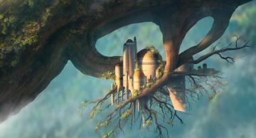 обоя фэнтези, иные миры,  иные времена, ветка, дерево, листья, замок