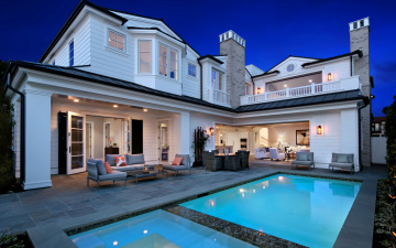 обоя интерьер, бассейны, открытые площадки, дизайн, огни, дом, вилла, вечер, бассейн, сша, newport, beach