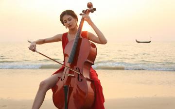 обоя музыка, - другое, девушка, виолончель, водоем, гондола