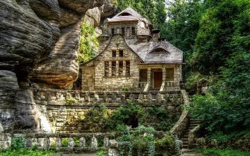 Картинка города здания дома скала дом лес