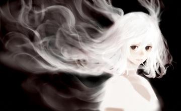 Картинка аниме животные +существа дым девушка волосы сигарета bounin арт