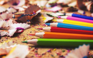 обоя разное, канцелярия,  книги, цветные, карандаши, опилки