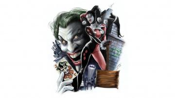 Картинка рисованные комиксы харли квинн фон art batman joker harley quinn dc comics арт бетмен джокер