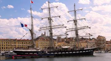 Картинка корабли парусники город корабль причал