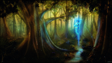 обоя фэнтези, призраки, магия, мир, иной, лес, волшебный, дух