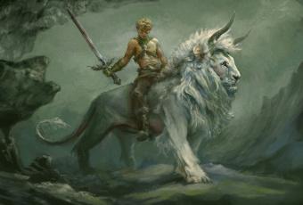 обоя фэнтези, существа, меч, лев, существо, фон, мужчина
