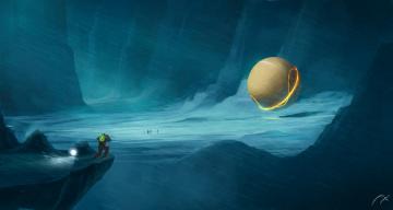 Картинка фэнтези иные+миры +иные+времена экспедиция снег горы люди линии сфера ущелье вьюга